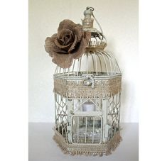 Wedding Birdcage Centerpiece or Wishing Well Rustic Chic Vintage Ivory/Tan, Natural & Pearl. Wedding Advice Box. Wedding Decor. on Etsy, $40.00
