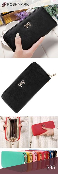 Full Size Zipper Bow Wallet Brand new. Full size wallet with zipper closure. Cute bow on the front. Available colors: light pink, black. Bags Wallets