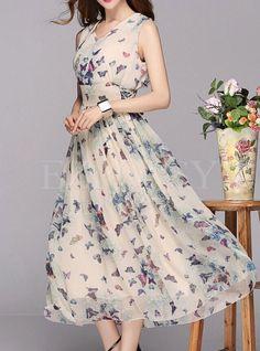 Summer Chiffon Floral Print A-Line Maxi Dress
