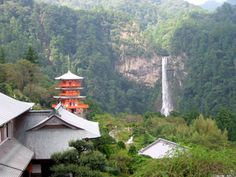 Nachi Falls (那智滝 ) in Nachikatsuura, Wakayama Prefecture, Japan, is one of the best-known waterfalls in Japan. With a drop of 133 meters (and 13 meters wide),[1] it is the country's tallest water fall with single uninterrupted drop albeit the tallest waterfall with multiple drops in Japan is Hannoki Falls of 497 m (seasonal), and Shomyo Falls of 350m (year round).