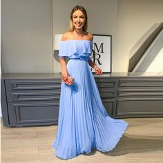 New Arrival Bridesmaid Dress Long Formal Gown Off The Shoulder Chiffon Light Blue Prom Dresses Light Blue Bridesmaid Dresses, Prom Dresses Blue, Pretty Dresses, Strapless Dress Formal, Beautiful Dresses, Evening Dresses, Bridesmaid Gowns, Chiffon Dresses, Dress Prom