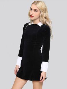 KILLSTAR Embrace the Wednesday Addams look during the holiday season. A black velvet style dress with a white turn down collar and cuffs. Looks incredible with our West End Creeper shoes and knee high socks.
