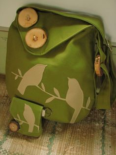Tweeting Birds Olive Green shoulder bagpursewith by LBArtworks, $69.00 - if only I had that kind of money to spend on a purse.