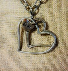GUESS Brand Chain Fashion Collar Necklace W/ Double Heart Pendant 20 inches #GUESS #Collar