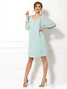 Eva Mendes Collection - Bridgette Chiffon Dress - Solid - New York & Company Eva Mendes Dress, Pretty Dresses, Dresses For Work, Eva Mendes Collection, Chiffon Dress, Flare Dress, Chic Outfits, Casual Wear, Clothes For Women