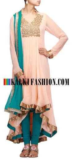 Buy Online from the link below. We ship worldwide (Free Shipping over US$100) http://www.kalkifashion.com/pink-anarkali-suit-with-gathers-and-embroidered-neckline.html Pink anarkali suit with gathers and embroidered neckline