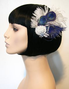 Blue Peacocks Feather Fasinator Comb Accessory by by CutieDynamite, $22.00