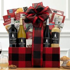 Wine Gift Baskets - Regal Gourmet Wine Basket Gourmet Baskets, Wine Gift Baskets, Sweet Cookies, Wine Gifts, Gourmet Recipes, Wines, Canning, Bottle, How To Make