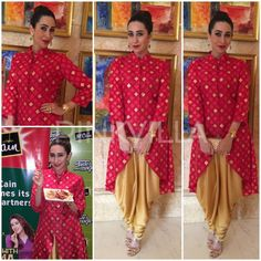 Karisma Kapoor in Swati Vijaivargie accessorized with a clutch by The Purple sack, a hand harness by Valliyan and earrings from Zariin (both from Minerali). Indian Wedding Wear, Indian Bridal, Indian Attire, Indian Wear, Indian Dresses, Indian Outfits, Latest Suit Design, Bandhani Dress, Indian Colours