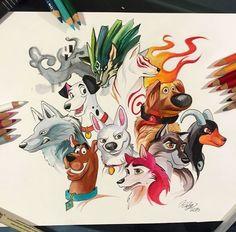 Dogs. Fantasy watercolor Katy lipscomb