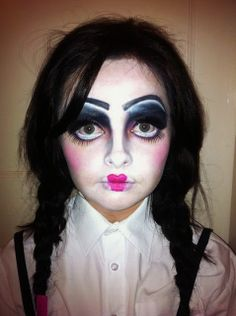 Doll version of Wednesday Adams on Sara Rose makeup blog