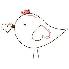 Valentine Birdie Applique/Embroidery Combo Fits 5x7 by BUDezigns, $3.75