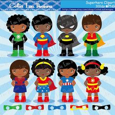 SuperKids Clipart, Cute Boy and Girl Superhero clip art , Superheroes clipart, African American, Multicultural / INSTANT DOWNLOAD (S026)