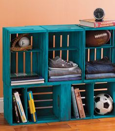 #DIY Storage Unit made from Milk Crates | Great project for a mud room or a kid's room | Supplies available at Joann.com or your local Jo-Ann Fabric and Craft Store