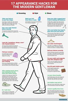 17 Style And Grooming Hacks Every Gentleman Needs To Know is part of Mens fashion smart - A fashion forward cheat sheet, if you will Fashion Mode, Mens Fashion, Fashion Tips, Fashion Hacks, Fashion Menswear, Lifestyle Fashion, Fashion Styles, Fashion Fashion, Shoe Tailor