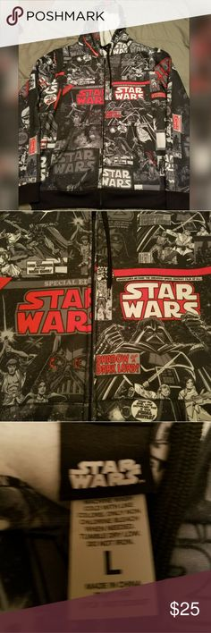 Star Wars Zip up Sweater Worm once in perfect condition, from a clean smoke free home Star Wars Sweaters Zip Up