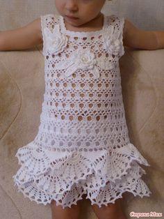 Всем доброго времени суток! Благодаря шикарному он-лайну Наденьки - http://www.stranamam.ru/ у моей малышки теперь есть замечательный белоснежный наряд - платье и панамка.