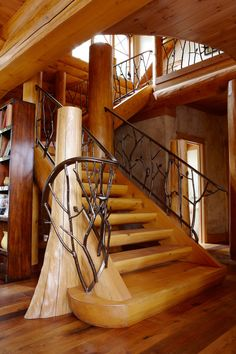 hirsh log homes Wood Railing, Railing Design, Iron Railings, Timber Stair, Timber House, Building Stairs, Cabin In The Woods, Stair Steps, Rustic Cabin Decor