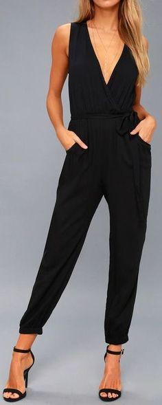 Black Sleeveless Jumpsuit #jumpsuit #FutureFashionTrends