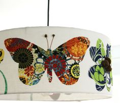 18 inch drum pendant light fixture butterflies and flowers: gonna have to steal this concept