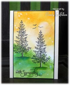 handmade sympathy card: Sunset Pines by frenziedstamper ... watercolor paper ... sponged sky and landscape ... pines from Lovely as a Tree ... gorgeous! ...Stampin'Up!