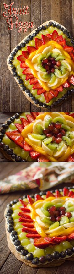 Fruit Pizza is the perfect summer treat with a sugar cookie crust topped with cream cheese and a rainbow of sweet fruit finished off with an apricot glaze! #FruitPizza #Dessert #Fruit #Sweet #Treat #Pizza