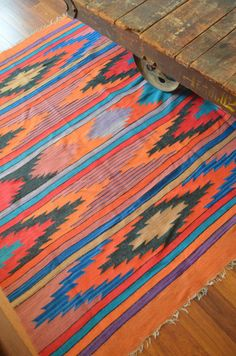 Vintage Large Mexican Hand Woven Rug By Vintagevictory Colors