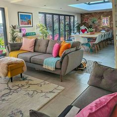 Living Room And Kitchen Design, Home Living Room, Living Room Designs, Living Room Decor, Dining Room, Cheap Home Decor, Home Decor Items, Home Decor Accessories, Colourful Living Room