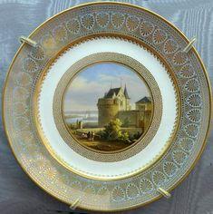 """porcelaine de Sèvres, assiette du service des """"Petites vues de France"""" Château de Nantes"""