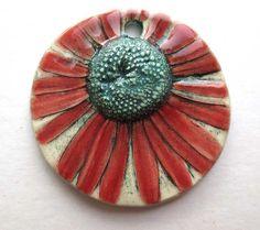 Handmade Ceramic Pendant Daisy in Alt  Red by maryhardingjewelry, $30.00