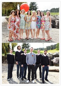 This colorful and casual wedding makes my heart happy! GREAT way to dress a wedding party!!  Also great because everyone can wear their outfits anytime not just a wedding!
