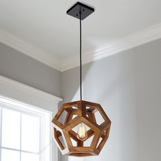 Wooden Honeycomb Orb Pendant - Shades of Light - Love these for the island to tie in the wood tone! Farmhouse Pendant Lighting, Copper Pendant Lights, Wood Pendant Light, Kitchen Lighting, Wooden Lamp, Wooden Diy, Hanging Lights, Honeycomb, Decoration