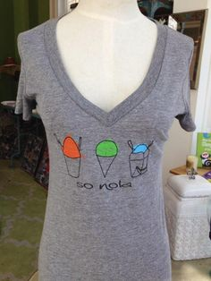 Fleurty Girl - Everything New Orleans - So NOLA Snoball Tee, $25. Three different snoballs served three different ways...it's so NOLA!