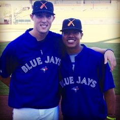 Toronto Blue Jays pitchers(and buddies) Marcus Stroman and Aaron Sanchez. Blue Jay Way, Go Blue, Marcus Stroman, Toronto Blue Jays, Baseball, Softball, My Boys, My Girl, Sports Teams