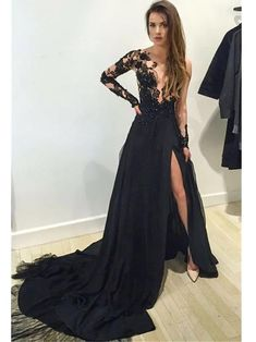 One Shoulder Black Prom Dresses Lace Applique Beaded Long Sleeve Formal  Dresses ARD1201 - SheerGirl Vestidos 4aaeaa1718c