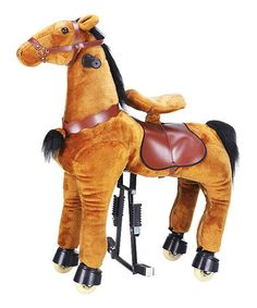 Dark Brown Medium Horse Ride-On | zulily  $230..okay, so a wee high but this is made to hold up to 130 lbs lol. & it rolls w/ a little effort from the kid riding it. too fun!