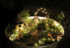 LIGHTED fairy garden - super cute but the lights really set it off (some construction details given)