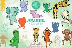 Jungle Animals, Vector Graphics, Design Bundles, How To Draw Hands, Doodles, Diy Projects, Clip Art, Scrapbook, Doodle