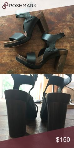 Barney's New York Leather heels These heels were worn once for a fashion shoot. They feature a wooden body with a leather sole and thick leather straps and are in incredible condition. My friend who wore them said they run true to size.  They are marked size 38 and made in Italy. Barneys New York Shoes Heels