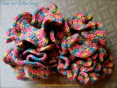 Hyperbolic Crochet - high increases on right, medium increases in middle, low increases on left