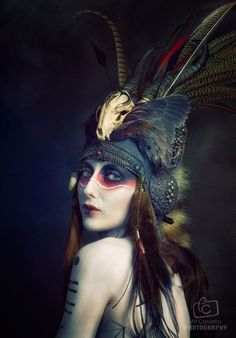Sumptuous skull headdress. See the incredible works of wearable art at Shunyata Designs, based in Melbourne, Australia. Photographer: Alf Caruana. MUA/Body paint/hair : Jacqueline Kalab. Headdress / Styling: Genevieve Amelia (Shunyata). Model: Anoush Anou. --- The Goblin Ball: Ember Rule, Melbourne, Australia. 14th June 2014 www.thegoblinball.com