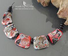 Handmade lampwork beads set       Gala     artisan glass     jewelry       necklace beads       made by Silke Buechler