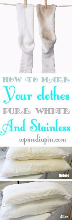 We have here the best tricks you can use in order to make your clothes pure white and stainless. If you use to buy expensive detergents or stain cleaners to wash off that stain of coffee and wine of you white clothes just stop doing it. Homemade Cleaning Products, Household Cleaning Tips, Cleaning Recipes, House Cleaning Tips, Natural Cleaning Products, Deep Cleaning, Spring Cleaning, Cleaning Hacks, Household Cleaners