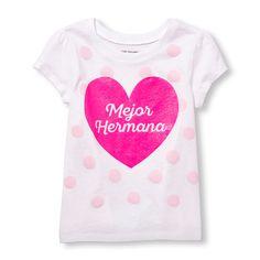 Toddler Girls Short Sleeve Glitter 'Mejor Hermana' Dot Graphic Tee