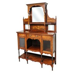 Beautiful Edwardian cabinet. Fabulous inlay details and carvings. With keys