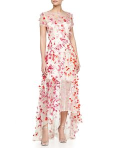 Monique Lhuillier Floral Embellished High-Low Gown