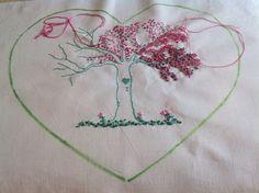 Questo è un pesco in primavera! Se si osserva da sinistra verso destra si notano le varie fasi del ricamo: l'albero ricamato a punto filza, poi i nodini  eseguiti con tre fili di muliné in un colore sfumato; in seguito ho eseguito l'applicazione di perline di vetro rosa, per finire con tante perline verdi (in basso a destra), per simulare il fogliame! Il disegno é a mano libera su cotone.