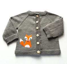 Fox jacket knitted baby jacket dark gray sweater Made by Tuttolv, $31.00