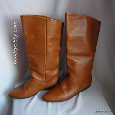 Vintage Nine West Flat Pixie Boots Leather size 5 .5 m Eur 35 .5 UK 3  COGNAC Tan Cuff Slouch Knee BRAZIL by GoodEye on Etsy
