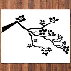 Free printable cherry blossom wall stencils free for Cherry blossom wall mural stencil